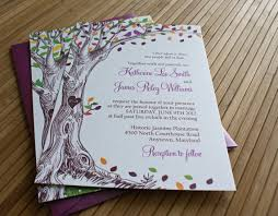 Rustic Autumn Tree Wedding Invitation With Carved Initials And Love Birds In Green Brown