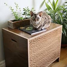 modern cat curio modern cat litter box walnut pattern hauspanther
