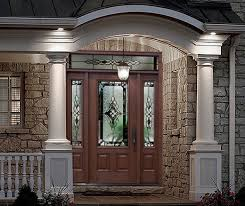 Rustic Style Fiberglass Entry Doors With Glass