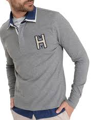 siege hilfiger hilfiger polo terrence rugby manches longues gris