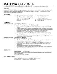 Good Resume Examples For Retail Jobs Best Assistant Store Manager Example