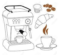 Espresso Coffee Machine Clip Art Set Stock Vector