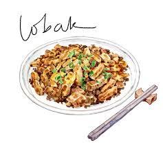Lobak or Carrot Cake asian food watercolor food illustration