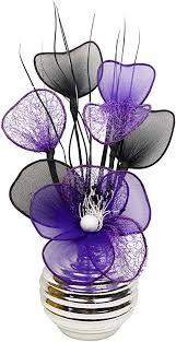 lila künstliche blumen mit silber vase deko wohnaccessoires deko geeignet für bad schlafzimmer oder küche fenster regal 32cm