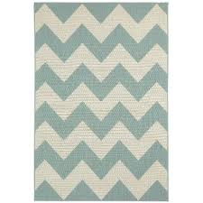 8 x 11 Chevron Spa Blue Indoor Outdoor Rug Finesse