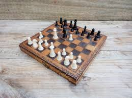 Vintage Wooden Chess Travel Set Small Handmade Pyrography Board Game Collectible Made In Bulgaria 60