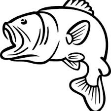 Bass Fish Jumping Outline Sketch Coloring Page