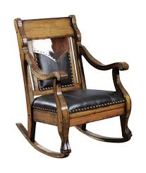 100 Cowboy In Rocking Chair Western Style With Cowhide Yoke Leather Seat And Back