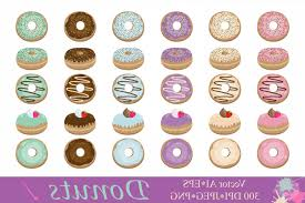 Clip Art Vector Graphics Donuts Clipart Doughnut Dessert Illustrations Cute Sprinkled Donut