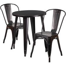 Flash Furniture Black Gold Round Top Indoor Outdoor Table Set With 2
