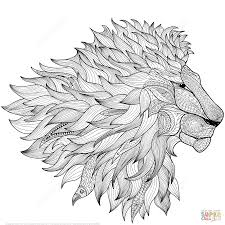 Lion Ethnic Zentangle Coloring Page