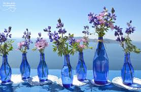 Wedding Decorations Blue And Purple Decor In Tie The Knot Santorini Weddings