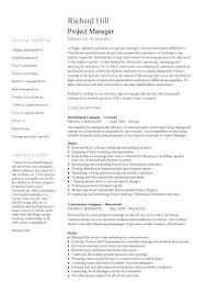 Construction Project Manager Resume Samples