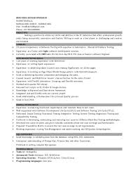 Software Testing Resume For 1 Year Experience Test Analyst Sample