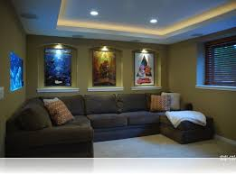 Decorations Alluring Small Home Theater Room Ideas L Shape Grey Sectional Sofa Green Painted Wall Cool Movie Poster Recessed Lamp Vertical