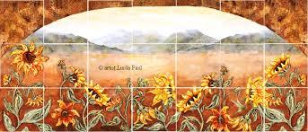 sunflower kitchen decor tile murals western backsplash of sunflowers