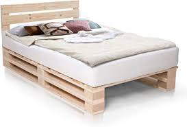 paletti palettenbett inklusive kopfteil massivholzbett holzbett bett aus paletten mit 11 leisten palettenmöbel 120 x 200 cm fichte natur