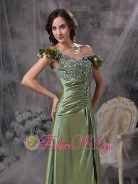 Luxurious Olive Green Mother Of The Bride Dress Column Off Shoulder Beading And Ruch Taffeta