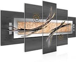 bilder abstrakt 5 teilig bild auf vlies leinwand deko wohnzimmer grau beige braun 103952b