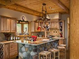 awesome log cabin primitive kitchen with granite countertop