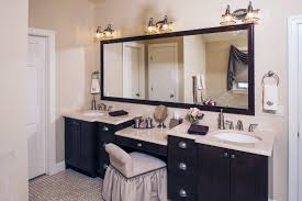 bathrooms design makeup vanity with lighted mirror double sink