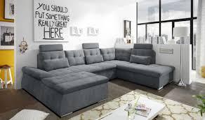 nalo sofa schlafcouch bettsofa schlafsofa sofabett wohnlandschaft ausziehbar anthrazit ottomane rechts u form