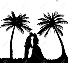 Beach Wedding Silhouette Clipart 1