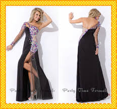 2017 black one shoulder with long sleeves pageant dresses