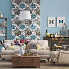 Floral Feature Wall Living Room