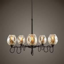 100 Fritz 5 Uttermost Light Gold Glass Chandelier