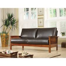 Mission Oak Faux Leather Sofa Dark Brown