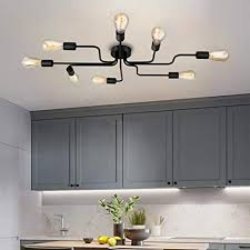 qucover deckenleuchte schwarz industrial deckenle vintage retro groß kronleuchter mit 8 flammig modern e27 für wohnzimmer küche esszimmer