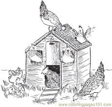 Hen House Coloring Page