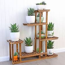 Shabby Chic Rustic Wood Flower Display Step Shelf Unit Plant Stand Shop Florist In Home Furniture DIY Decor Stands