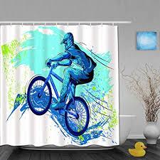 qinco duschvorhang bmx sportsman radfahren bike freestyle triathlon fahrrad zyklus schwierigkeiten personalisierte deko badezimmer