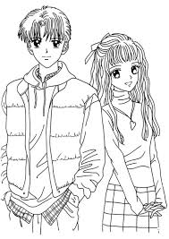 Anime Coloring Page To Print Boy And Girl