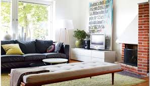 Simple Home Decor Ideas For Small Living Room With Black Sofa And