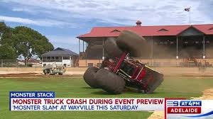 9 News Adelaide - A Monster Truck Has Crashed In... Videos Of Monster Trucks Crashing Best Image Truck Kusaboshicom Judge Says Fine Not Enough Sends Driver In Fatal Crash To Jail Crash Kids Stunt Video Kyiv Ukraine September 29 2013 Show Giant Cars Monstersuv Jam World Finals 17 Wiki Fandom Powered Malicious Tour Coming Terrace This Summer Show Clip 41694712 Compilation From 2017 Nrg Houston Famous Grave Digger Crashes After Failed Backflip Of Accidents Crashes Jumps Backflips Jumps Accident