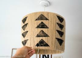 Pendant Diy Jute Lampshade With Tribal Stamping Grillo Designs