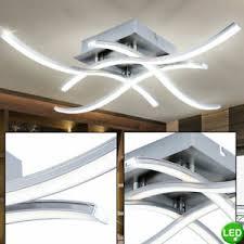 details zu led design deckenle wohnzimmer küchen alu deckenleuchte modern wellen optik
