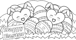 Happy Easter Hearts Free Coloring Page O Holidays Pages