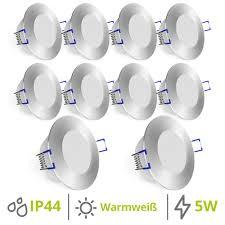 weevo 10er set einbauspots led bad flach 5w warmweiß downlight ip44 rund gebürstet