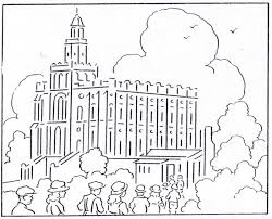 St George Temple Coloring Page From Mormon History Book 1923 August