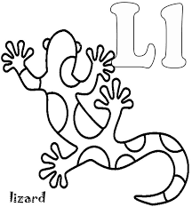 Alphabet Coloring Pages Free Animal Lizard