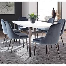 100 Modern Chic Decor Shop Design Blue Velvet With Metal Legs Dining Chairs