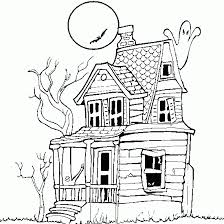 Haunted House Halloween Color Pages To Printable Coloring Page
