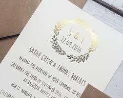 Rustic Wedding Invitation Gold Foil Bohemian Boho