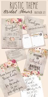 Rustic Bridal Shower Invitations Card Design In Portrait