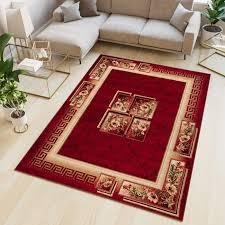 atlas teppich kurzflor modern design griechisch floral rot beige