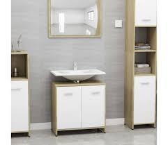 vidaxl badezimmerschrank weiß und sonoma eiche 60x33x58 cm spanplatte
